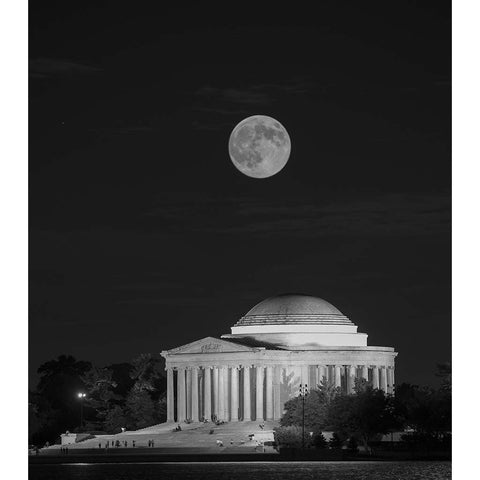 Jefferson Memorial with Moon, Photograph, 22 by 28 Inches by Frank Ruggles-Photography-Sterling-and-Burke