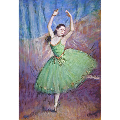 "Antique Pastel on Board | Dancer in Green by Louis Kronberg | 39.5"" x 30.5""-Pastel-Sterling-and-Burke"
