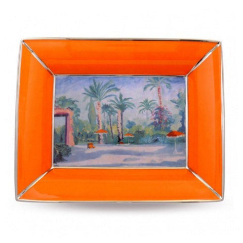 Halcyon Days Garden of Mamounia by Sir Churchill Trinket Tray in Orange, Rectangular-Bone China-Sterling-and-Burke