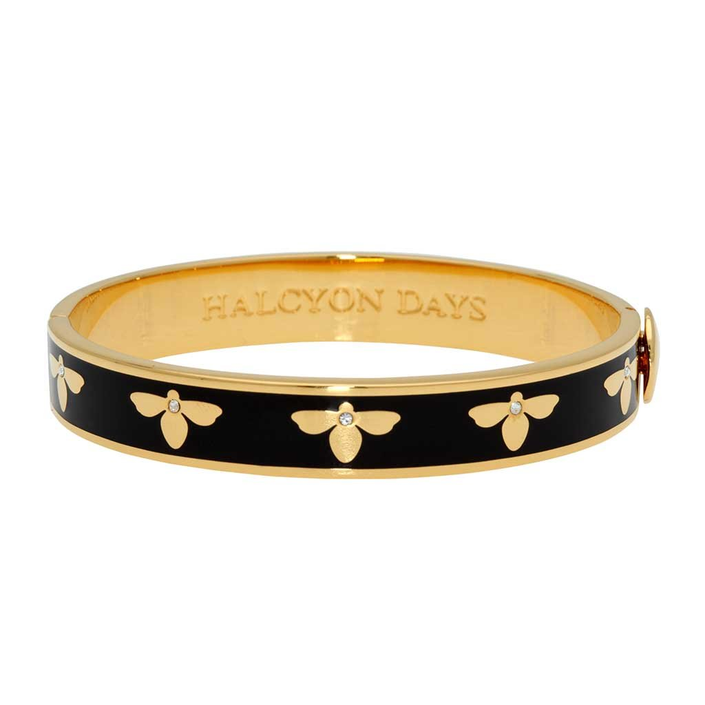 Halcyon Days 1cm Bee Sparkle Hinged Enamel Bangle in Black and Gold-Jewelry-Sterling-and-Burke