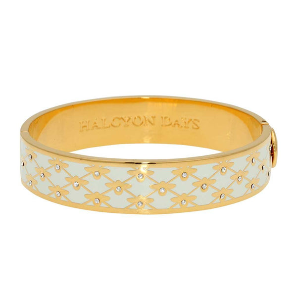 Halcyon Days 13mm Bee Sparkle Trellis Hinged Enamel Bangle in Cream and Gold-Jewelry-Sterling-and-Burke