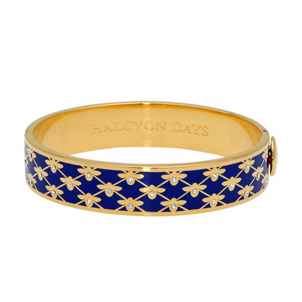 Halcyon Days 13mm Bee Sparkle Trellis Hinged Enamel Bangle in Cobalt Blue and Gold-Bangle-Sterling-and-Burke