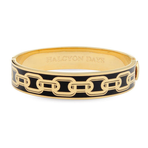Halcyon Days 13mm Chain Hinged Enamel Bangle in Black and Gold-Jewelry-Sterling-and-Burke