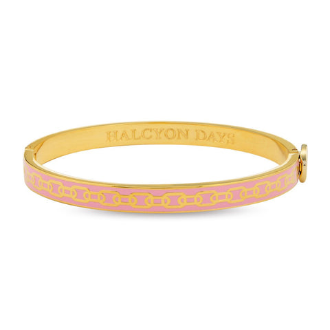 Halcyon Days 6mm Skinny Chain Hinged Enamel Bangle in Pale Pink and Gold-Bangle-Sterling-and-Burke