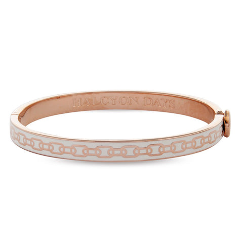 Halcyon Days 6mm Skinny Chain Hinged Enamel Bangle in Cream and Rose Gold-Bangle-Sterling-and-Burke