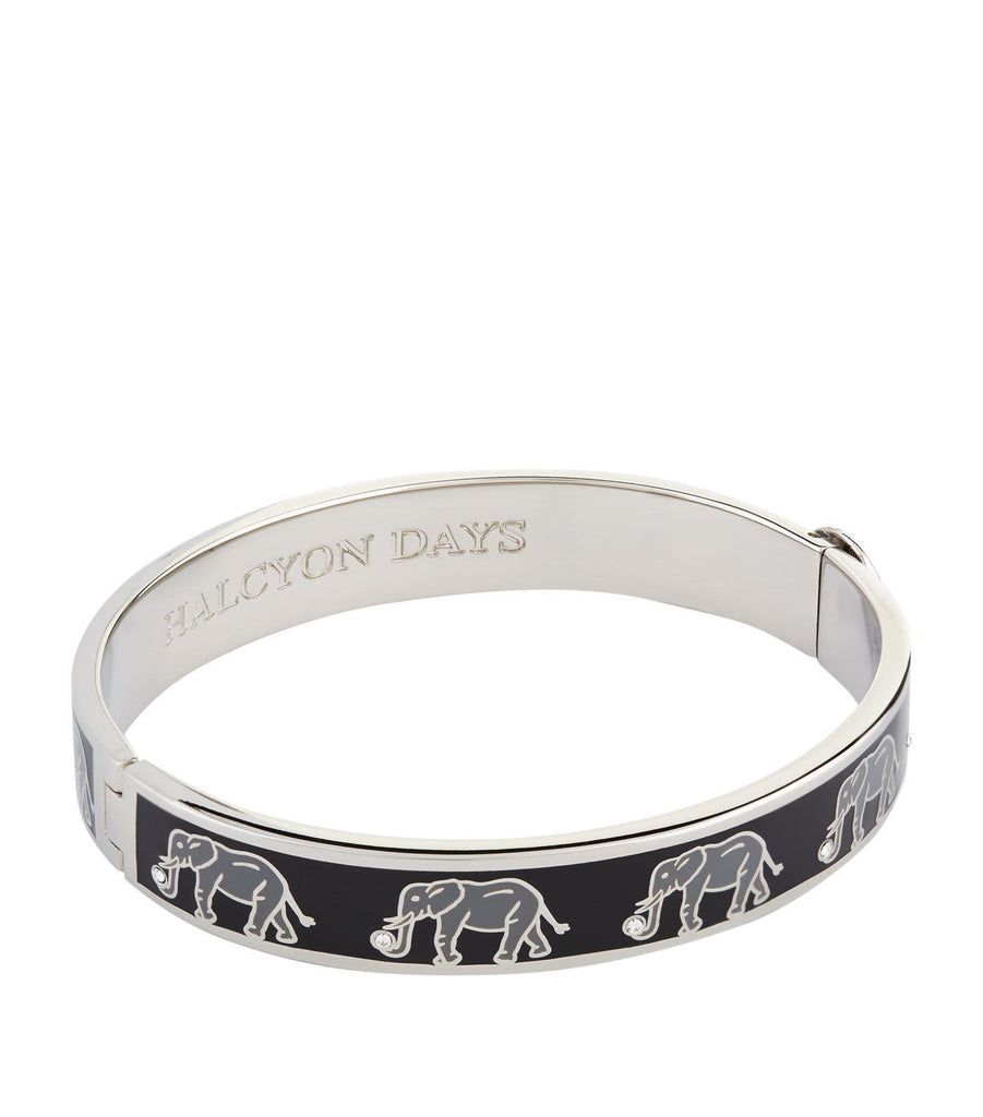 Halcyon Days 1cm Elephant Motif Hinged Enamel Bangle in Black and Palladium-Jewelry-Sterling-and-Burke