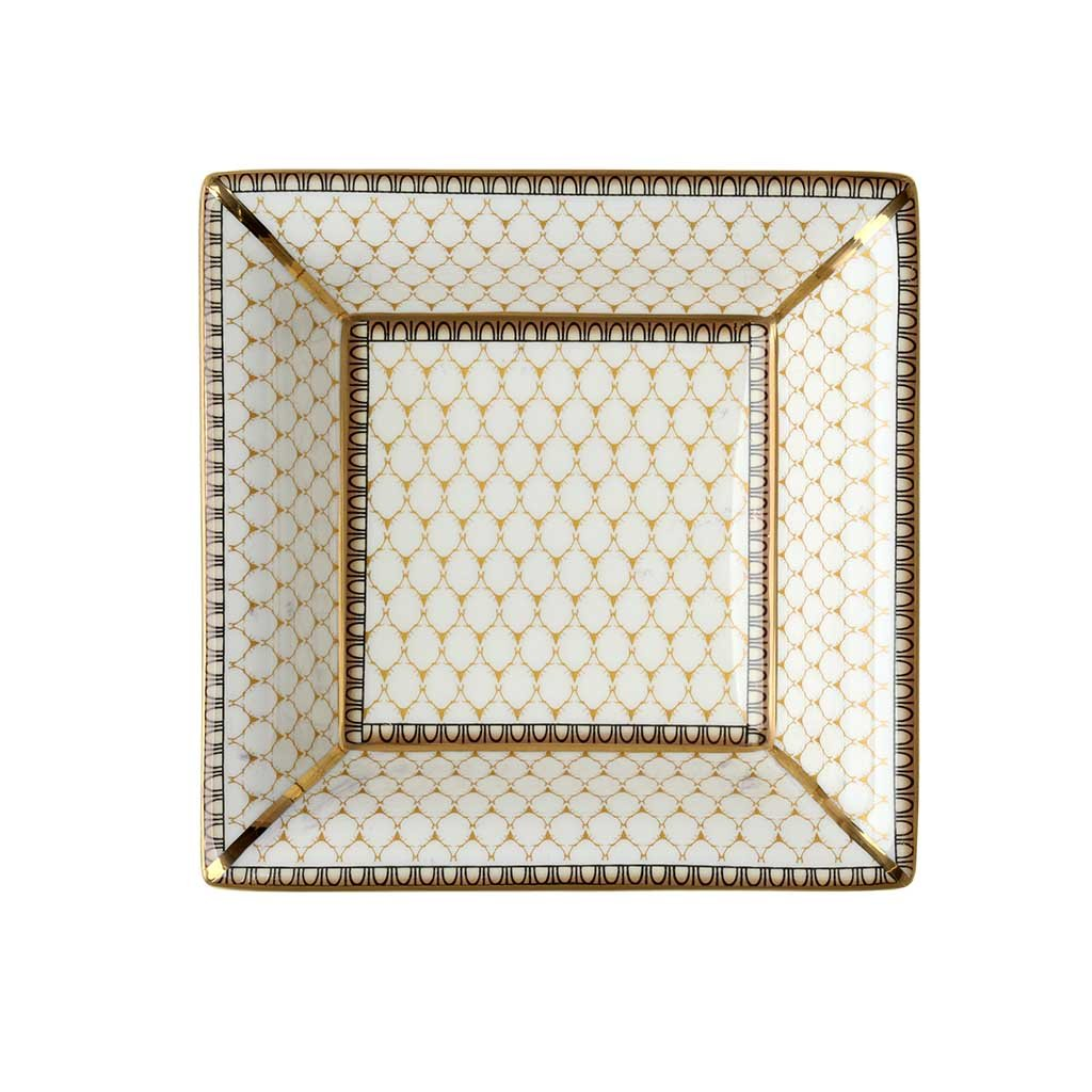 Halcyon Days Antler Trellis Trinket Tray in Ivory, Square-Bone China-Sterling-and-Burke