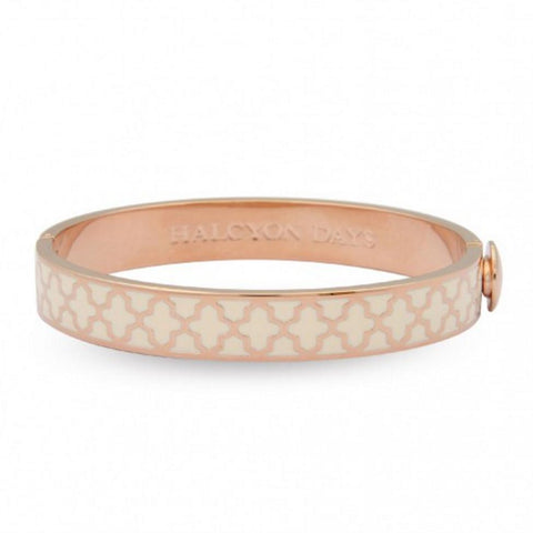 Halcyon Days 1cm Agama Hinged Enamel Bangle in Cream and Rose Gold-Bangle-Sterling-and-Burke