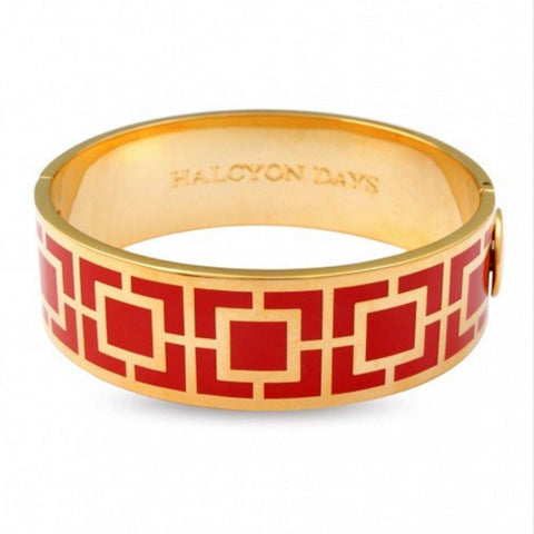 Halcyon Days 19mm Maya Hinged Enamel Bangle in Red and Gold-Bangle-Sterling-and-Burke