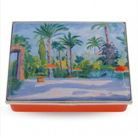 Halcyon Days Garden of Mamounia by Sir Churchill Enamel Box, Large-Prestige Box-Sterling-and-Burke