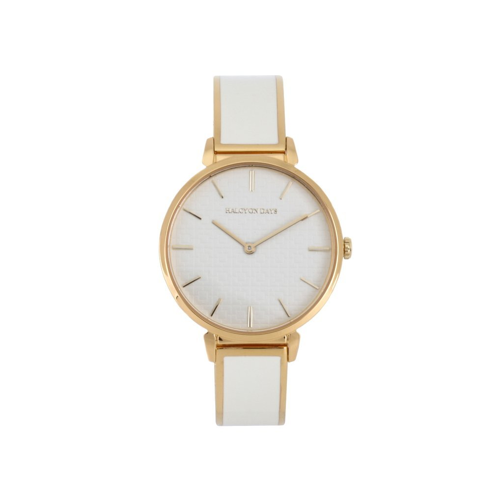 Halcyon Days Maya Plain Enamel Bangle Strap Watch in Cream and Gold-Jewelry-Sterling-and-Burke