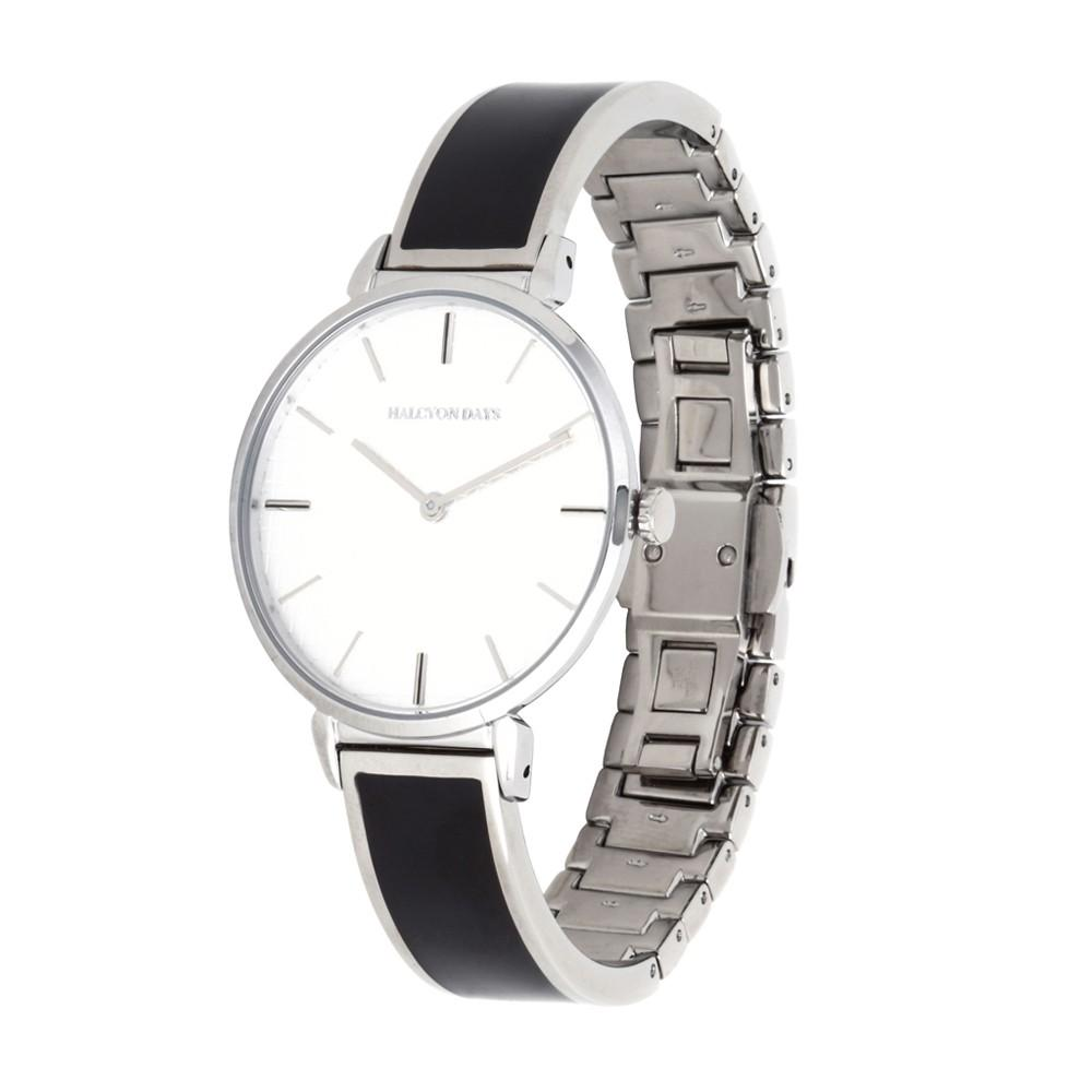 Halcyon Days Maya Plain Enamel Bangle Strap Watch in Black and Palladium-Jewelry-Sterling-and-Burke