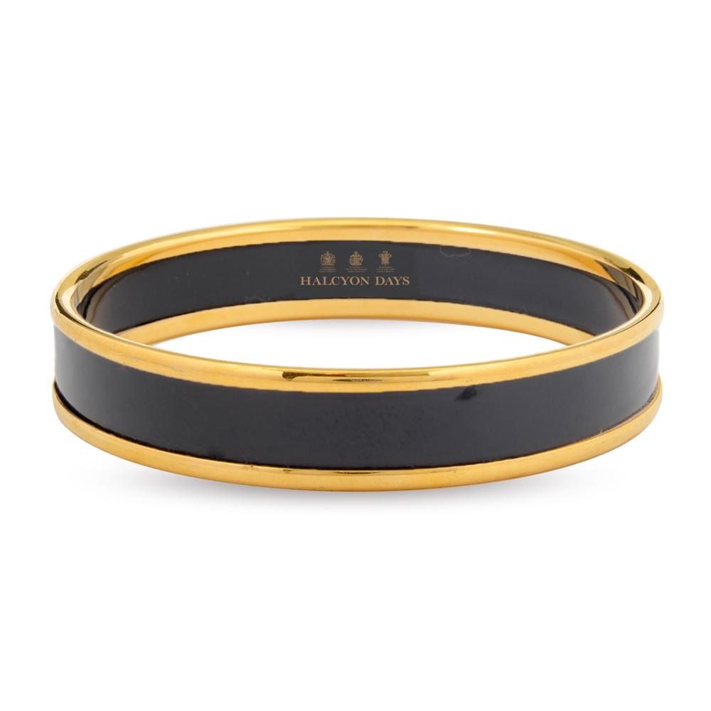 Halcyon Days 1cm Push Enamel Bangle in Black and Gold-Jewelry-Sterling-and-Burke