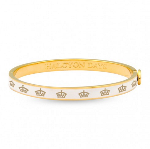 Halcyon Days 6mm Skinny Crown Hinged Enamel Bangle in Cream and Gold-Bangle-Sterling-and-Burke