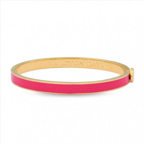 Halcyon Days 6mm Skinny Plain Hinged Enamel Bangle in Bright Pink and Gold-Bangle-Sterling-and-Burke