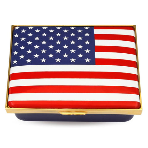 "Halcyon Days ""The Stars and Stripes"" American Flag Enamel Box, Large-Enamel Box-Sterling-and-Burke"