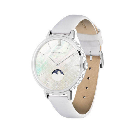 Halcyon Days Agama Moonphase Ladies Watch in Cream and Palladium-Ladies Watch-Sterling-and-Burke