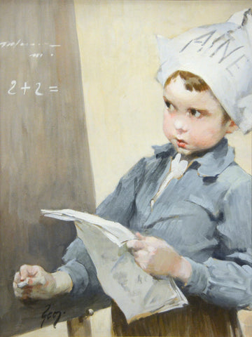 "Antique Pastel on Paper | Solving the Problem by Henry Jean Geoffroy | 22 3/4"" x 25 3/4""-Pastel-Sterling-and-Burke"