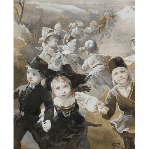 "Antique Pencil on Paper | Farandole d'enfants costumes by Henry Jean Jules Geoffroy | 7 5/8"" by 6 1/8""-Mixed Media-Sterling-and-Burke"