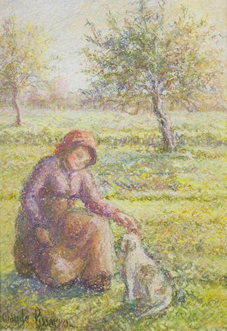 "Antique Pastel on Paper | Celine et Pipo dans le pre (A Girl and Her Dog in the Meadow) ca 1985 | 24"" x 19 3/8""-Pastel on Paper-Sterling-and-Burke"