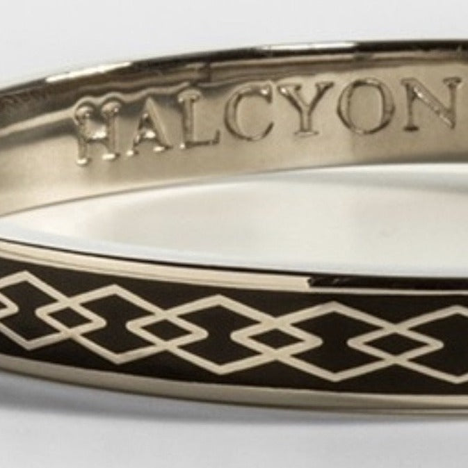 Halcyon Days 6mm Skinny Parterre Chain Enamel Bangle in Black and Palladium-Jewelry-Sterling-and-Burke