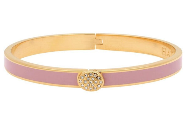 Halcyon Days 6mm Skinny Pave Button Hinged Enamel Bangle in Pale Pink and Gold-Jewelry-Sterling-and-Burke