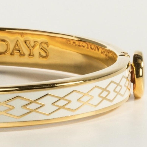 Halcyon Days 6mm Skinny Parterre Chain Enamel Bangle in Cream and Gold-Jewelry-Sterling-and-Burke