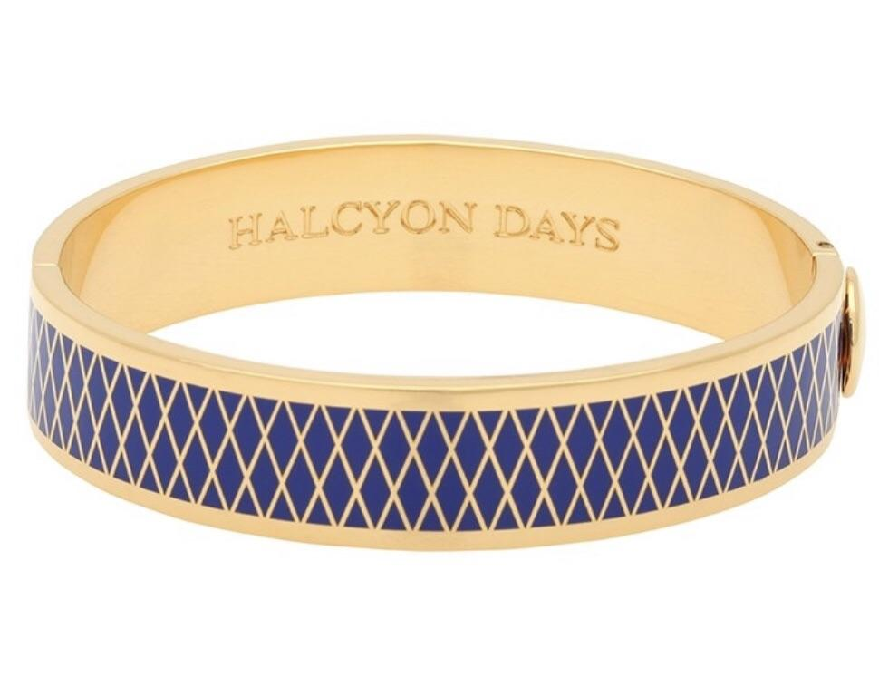 Halcyon Days 13mm Parterre Hinged Enamel Bangle in Deep Cobalt and Gold-Jewelry-Sterling-and-Burke
