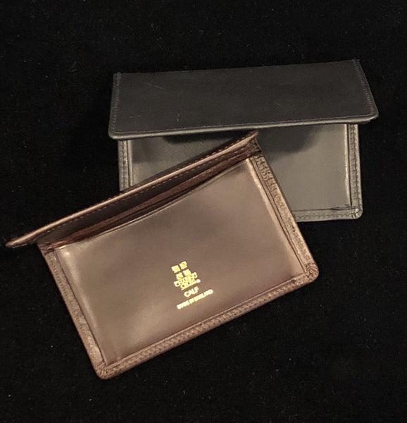 Gusseted Card Case | Business Card Case with 4 Interior Pockets | Smooth Calf Leather | Silk Lining | Made in England | Sterling and Burke-Business Card Case-Sterling-and-Burke