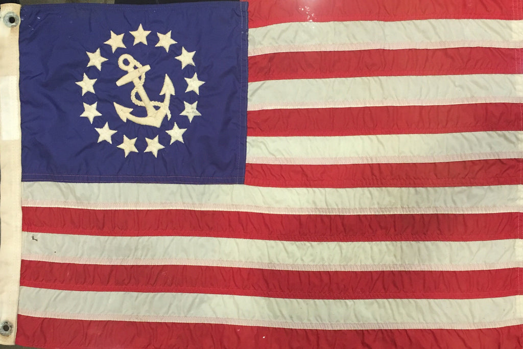 FDR Flag Art | 13 Star Private Yacht Flag with Anchor | 24 by 15.5 inches | Vintage / Antique-Vintage Flag-Sterling-and-Burke