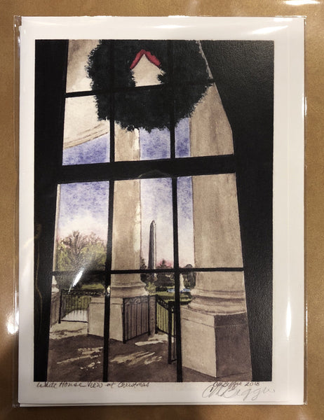 "White House View at Christmas | Print Card by Carole Moore Biggio | 5"" x 7""-Greeting Cards-Sterling-and-Burke"