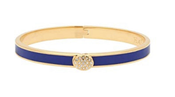 Halcyon Days 6mm Skinny Pave Button Hinged Enamel Bangle in Cobalt and Gold-Jewelry-Sterling-and-Burke