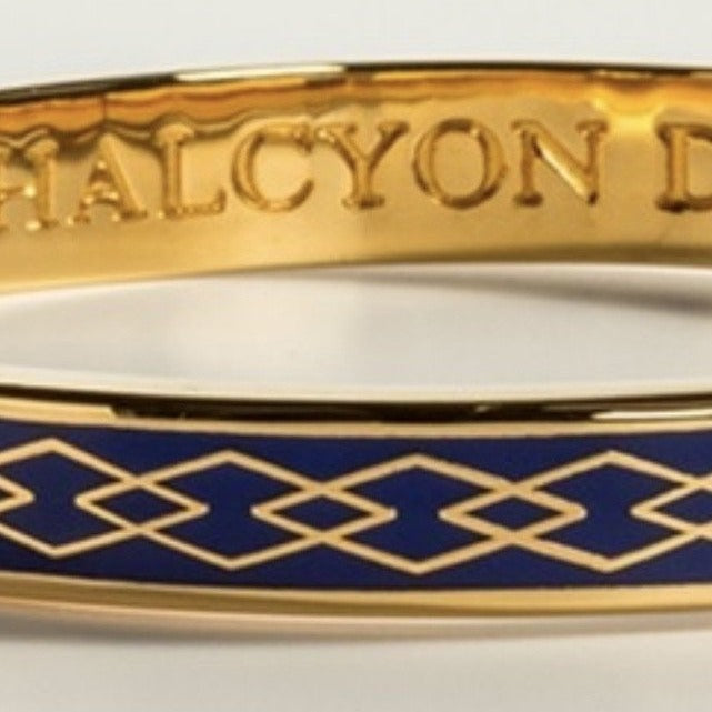 Halcyon Days 6mm Skinny Parterre Chain Enamel Bangle in Deep Cobalt and Gold-Jewelry-Sterling-and-Burke
