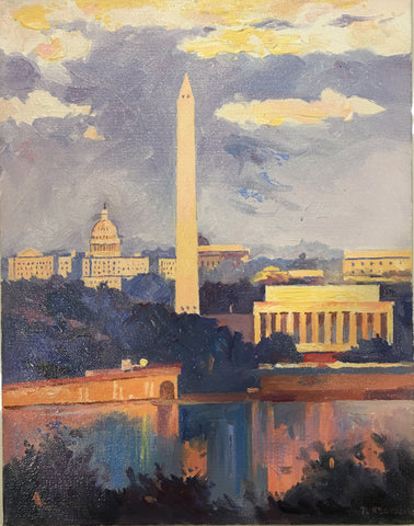 "Monuments at Dusk | Washington, DC Art | Original Oil and Acrylic Painting on Canvas by Zachary Sasim | 11"" by 13.5"" 