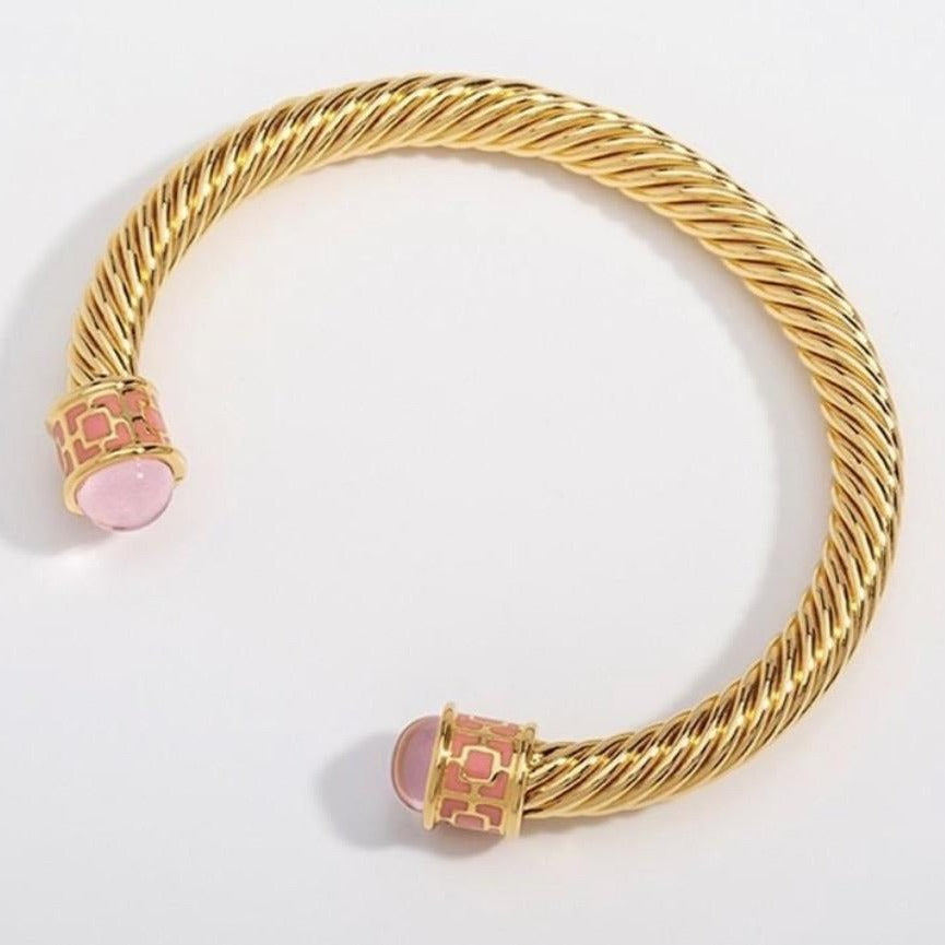 Halcyon Days Maya Open Twist Wire Bracelet in Rose Quartz and Gold-Jewelry-Sterling-and-Burke