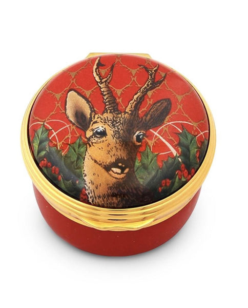 Halcyon Days Antler Trellis & Stag Enamel Box in Red-Enamel Box-Sterling-and-Burke