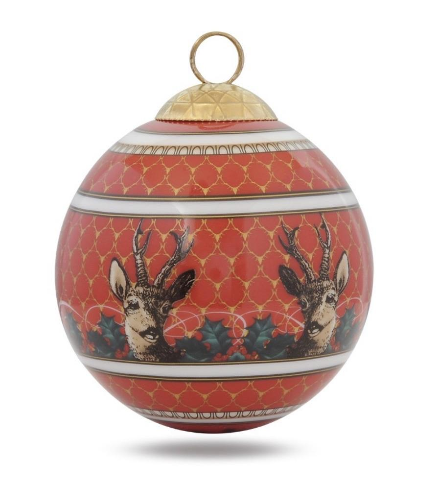 Halcyon Days Antler Trellis & Stag Bauble in Red-Ornament-Sterling-and-Burke