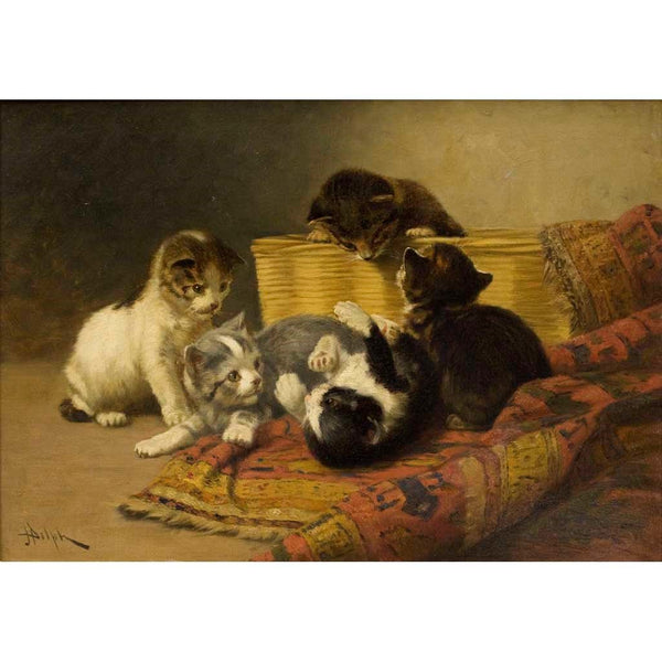"Antique Oil Painting | Kittens at Play by John Henry Dolph | 20 1/8"" x 26 1/4""-Oil Painting-Sterling-and-Burke"