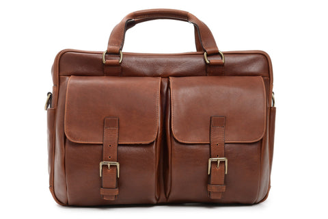 Barton Leather Brief Bag | Grain Leather | Made in USA | Korchmar-Brief Bag-Sterling-and-Burke