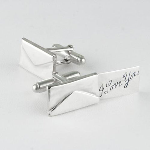 Love Letter Cufflinks | Sterling Silver Envelope Cuff Links | Custom Message | Sterling and Burke-Cufflinks-Sterling-and-Burke