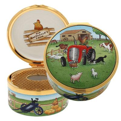 Halcyon Days Musical Enamel Box, 'Old McDonald'-Musical Enamel Box-Sterling-and-Burke