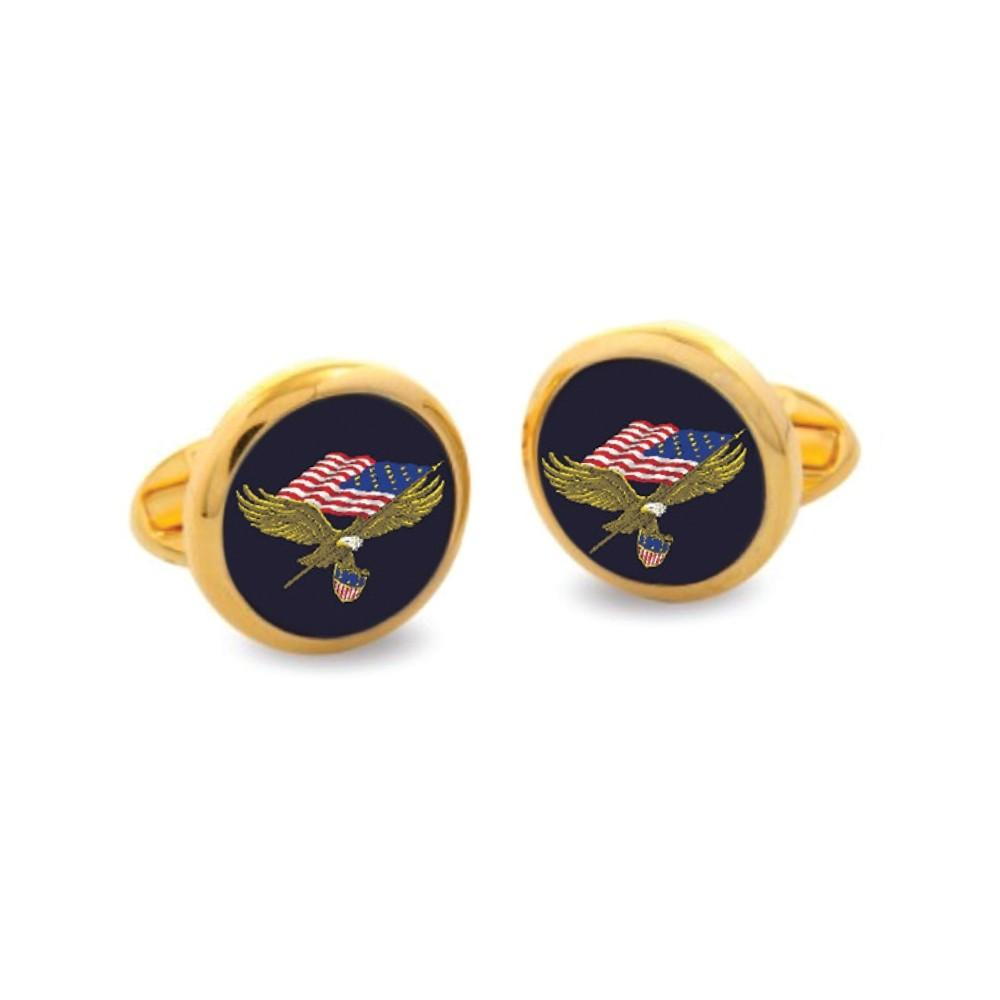 Halcyon Days Star Spangled Banner Cufflinks in Gold-Enamel Cufflinks-Sterling-and-Burke