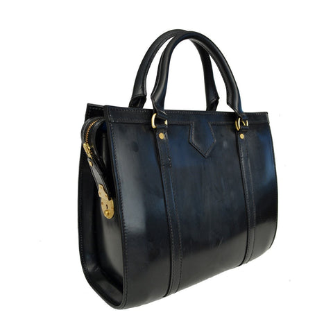 Classic Beatrice Handbag, Black | Hand Stitched | English Leather | Sterling and Burke-Handbag-Sterling-and-Burke