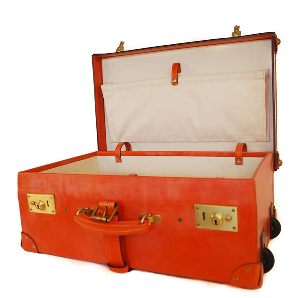 Leather Trunk Suitcase | 22 Inch | Wheels and Trolley Option | Hand Stitched | Luxury Travel | English Bridle Leather | Sterling and Burke-Suitcase-Sterling-and-Burke
