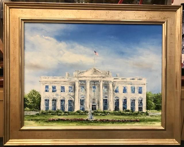 "Art | The White House I | Original Oil by Claire Howard | Silver Leaf Frame | 24"" x 30""-Oil Painting-Sterling-and-Burke"