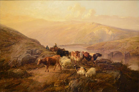 "Antique Oil on Canvas | Drover With Cattle And Sheep, 1857 by Thomas Sidney Cooper | 30"" x 44""-Oil on Panel-Sterling-and-Burke"