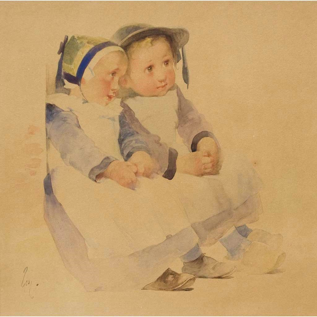 "Antique Watercolor on Paper | Two Breton Children Seated Against a Wall by Henry Jean Jules Geoffroy | 22"" x 22""-Watercolor-Sterling-and-Burke"