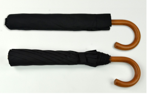 Collapsible Umbrella | Custom Collapsible Umbrella  | Malacca Cane Handle | Personalized | Hand Made in England | Studio Burke Ltd