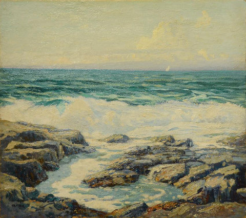 "Antique Oil on Canvas | The Spring Waves, Monhegan Island by Wilson Henry Irvine | 34"" x 37"" Framed-Oil on Panel-Sterling-and-Burke"