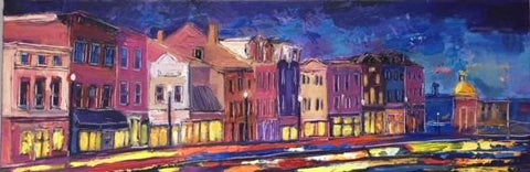 "Blue Evening, Georgetown III | M Street | Original DC Themed Painting by Zachary Sasim | 12"" by 36"" 